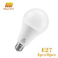 Bombilla LED E27 para habitación, luz Natural Fría/cálida, 110V-220V, de alto brillo, lámpara de mesa, 4 Uds./6 uds.