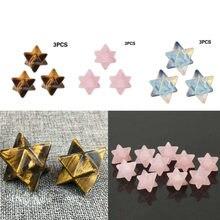 3 pçs esculpida merkaba estrela quartzo cristal requintado pingente ornamentos reiki cura proteção de energia decoração para casa