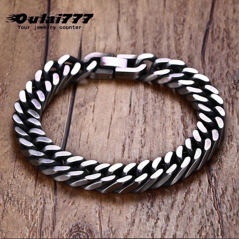 Браслет oulai777 мужской из нержавеющей стали, Очаровательная цепь в стиле ретро, черная рука, браслет с кубинскими звеньями в стиле рок