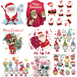 New Christmas Animals Thermal Transfers Stickers On Clothes DIY Washable Patches For Clothing Printing T-shirt Dresses Stickers