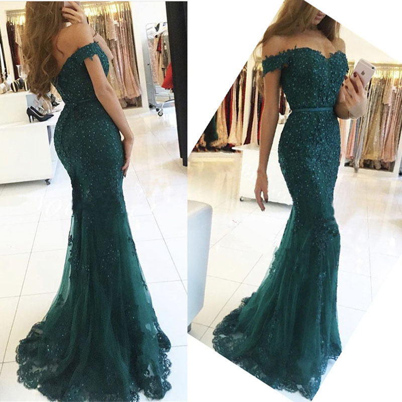 Lace Appliques Mermaid Off Shoulder Evening Dresses 2020 Long Evening Gowns Beaded Formal Party Dress Green Red Burgundy