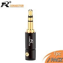 Conector de áudio de 3.5mm, conector de fone de ouvido banhado a ouro com tubo de alumínio e parafuso, 1 peça embalagem livre de soldagem