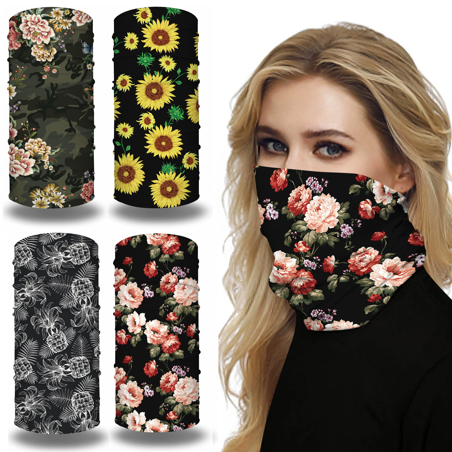 Floral Printing Seamless Bandana Face Mask For Women Sports Yoga Workout Headband Magic Scarf Windproof Sunscreen Breathable