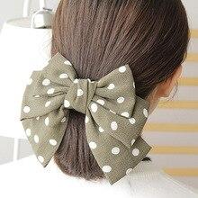 Elegant Women Polka Dot Print Hair Clips for French Clip Girls Bowknot Tie Handmade Bows Korea Accessories