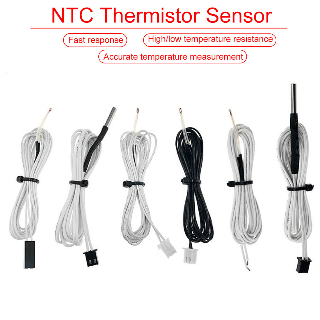 Etmakit 1M/2M HT-NTC100K Thermistor Temperature Sensor For 3D Printer Parts For High Temperature Filament 350 Degrees Hotend Kit