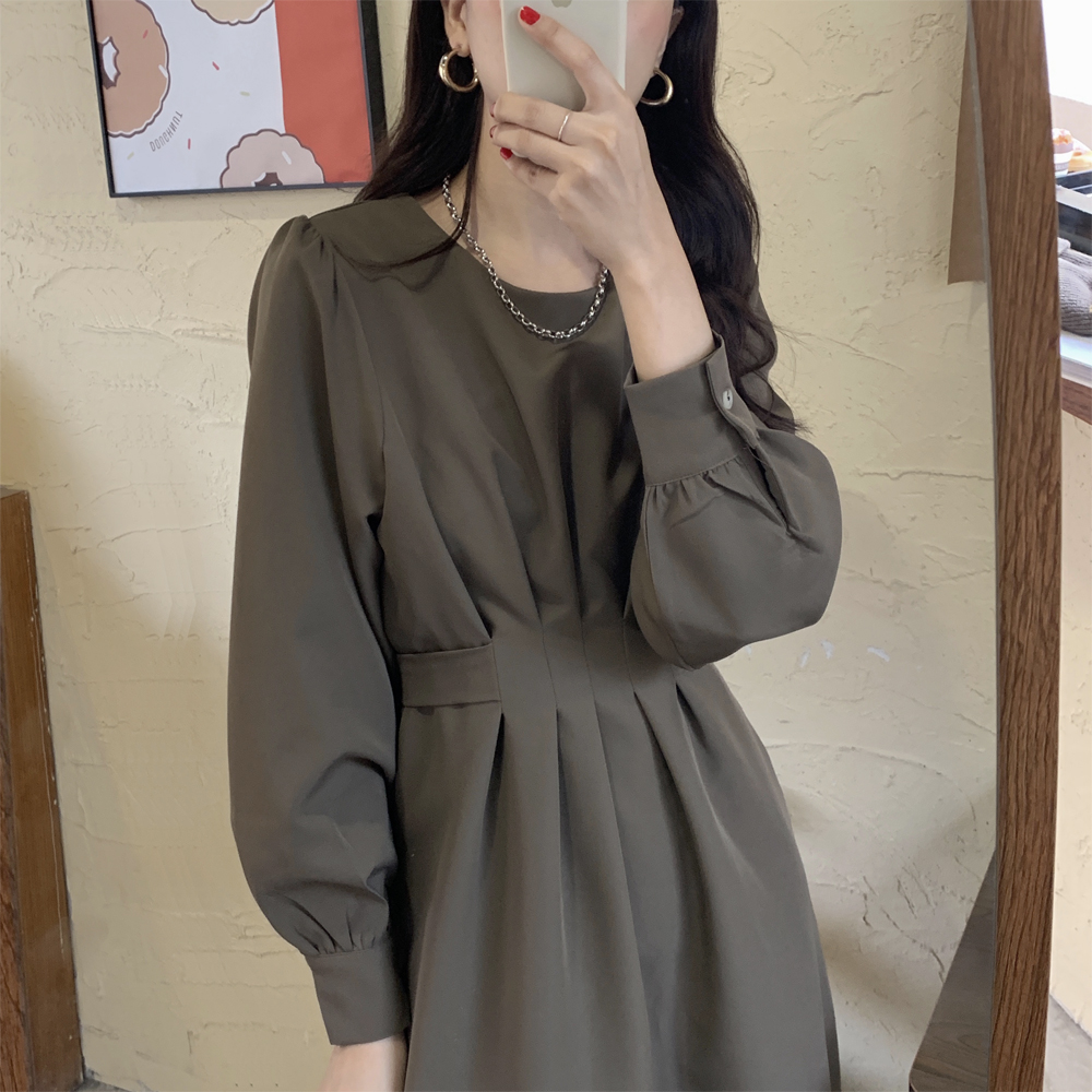 H8c9abe6b483043d68ebc41f53b155d8bT - Autumn Korean O-Neck Long Sleeves Dark Solid Midi Dress