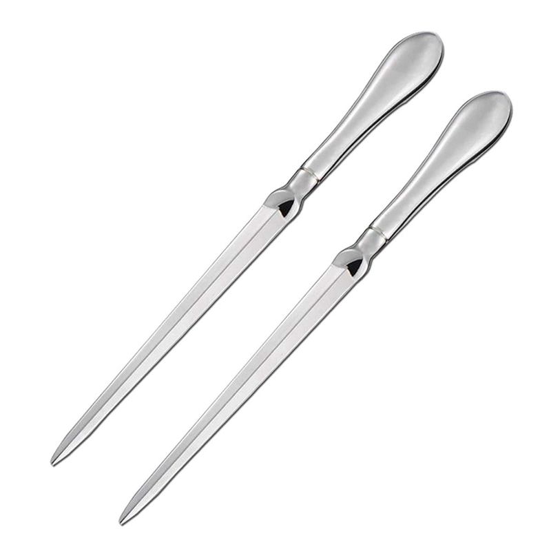 2 Pack Letter Opener Metal Envelope Opener Knife, Paper Cutting Knife, Nickel Plated, 9 Inches, Silvery