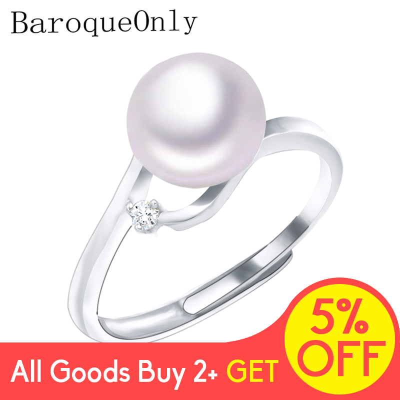 BaroqueOnly AAA Zircon Decoration Pearl Ring Fine Jewelry Of Silver Freshwater Pearl Rings 925 Sterling Silver Rings For Women