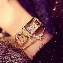 נשים שעונים גבירותיי קוורץ שעון כיכר יהלומי יוקרה מותג צמיד שעונים לנשים ריינסטון נקבה שעוני יד Relogios