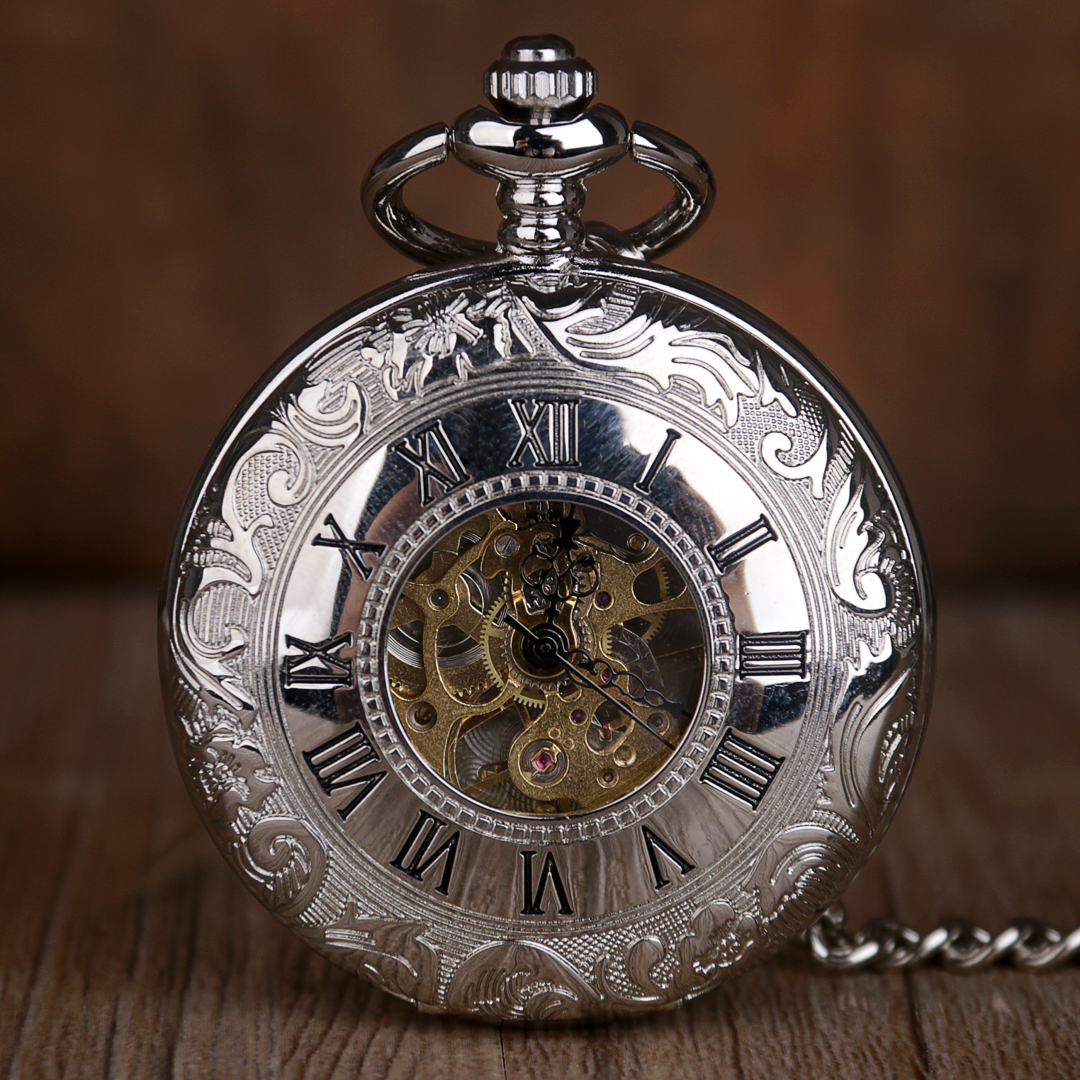 Silver Hand Wind Mechanical Pocket Watches With Fob Chain Mens Hollow Skeleton Dial Stainless Steel Fashion Pocket Watch Gifts