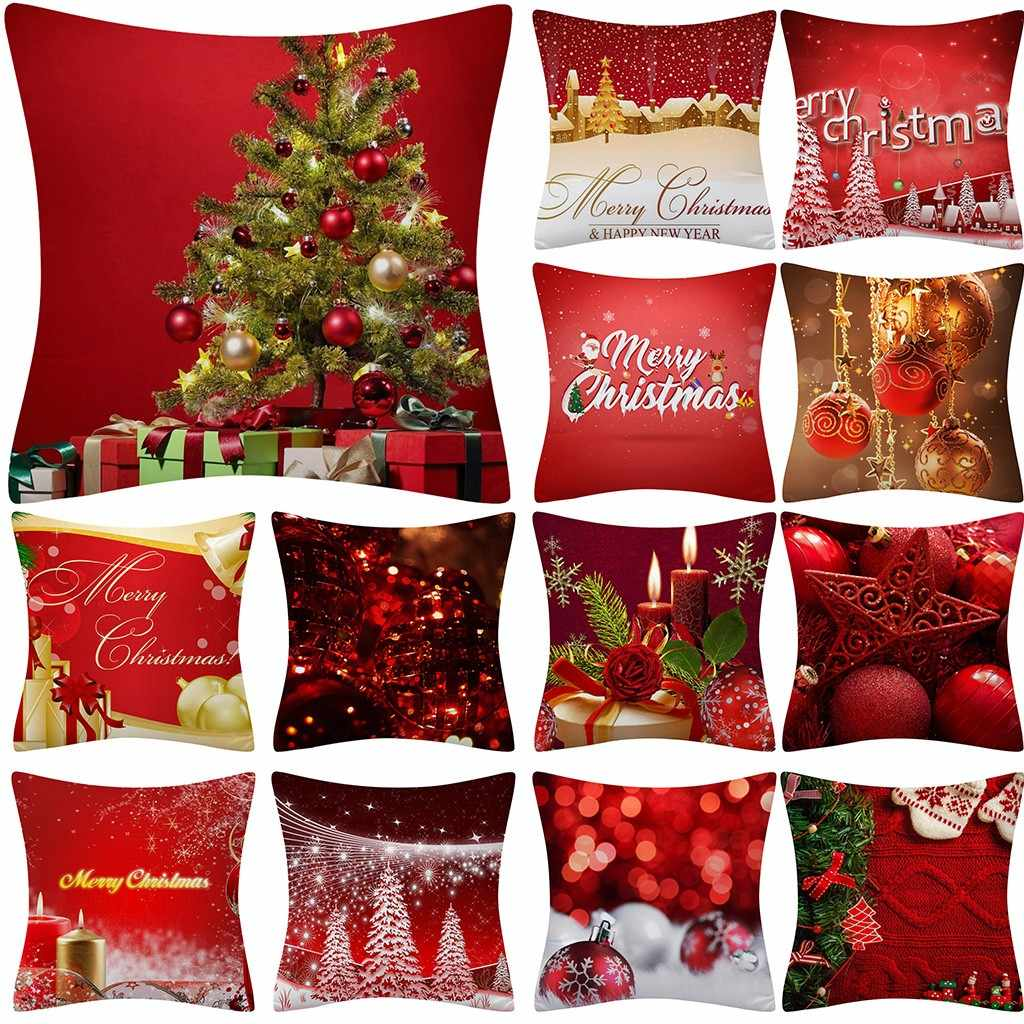 Christmas Cushion Cover 45*45 Throw Glitter Pillow Case Home Sofa Decorative Pillowcase Pillow Case Cover Navidad