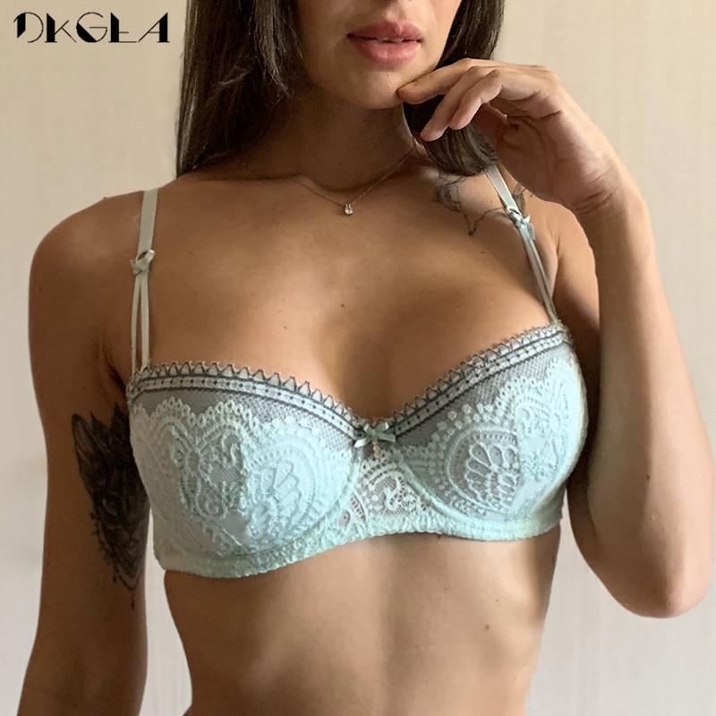 New Fashion Half Cup Bra Plus Size C D Cup Brassiere Plunge Women Bras Sexy Lace Underwear Black Thin Cotton Embroidery Lingerie 1