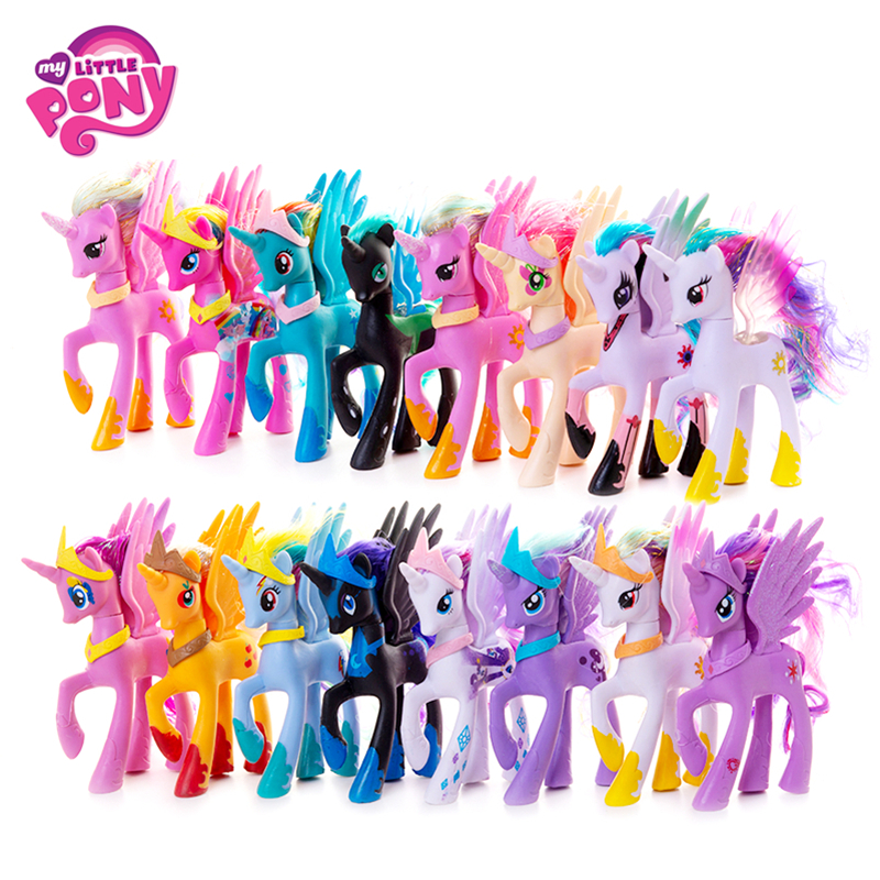Original My Little Pony 14cm Cartoon Rainbow Unicorn Pony Fluttershy Sparkle Rarit Anime Action Figure Model Children Xmas Gift