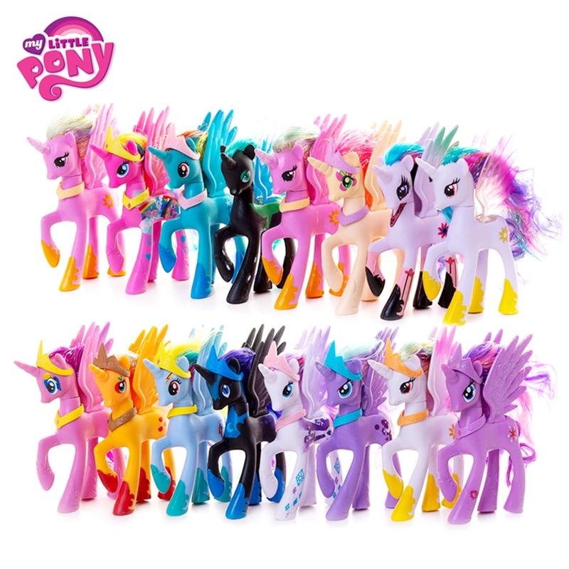 Original My Little Pony 14cm Cartoon Rainbow Unicorn Pony Fluttershy Sparkle Rarit Anime Action Figure Model Children Xmas Gift