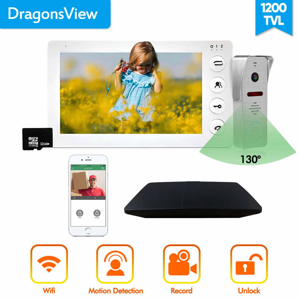 Dragonsview Wifi Doorbell Camera 7 Inch Indoor Monitor  Wireless Video Door Phone Intercom System Unlock SD Card Motion Alarm
