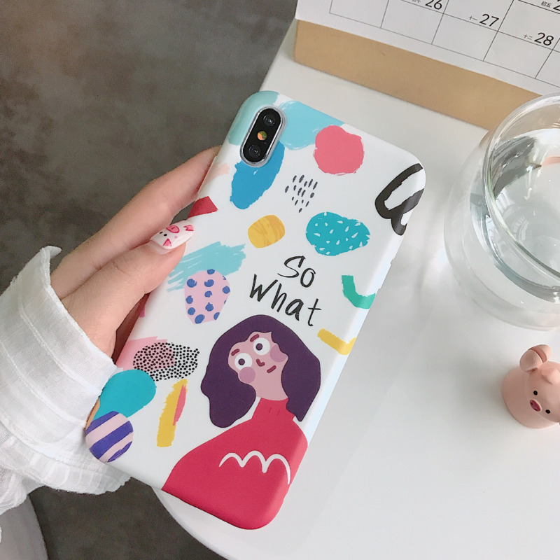 Personality watercolor graffiti girl phone case for iPhone X XS XR XSMax 8 766S PluS liquid silicone model drop protection cover