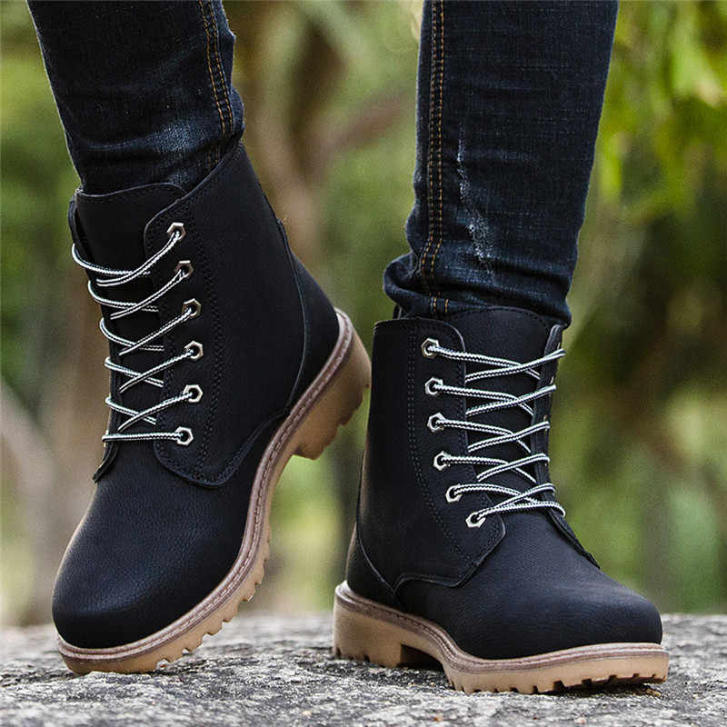 Winter Warm Mannen Boot Anti Gladde Wandelen Boot Keep Warm Botas Hombre Cuero Genuino Mannen Lage Ankle Trim Flat Enkel martin Schoenen 5