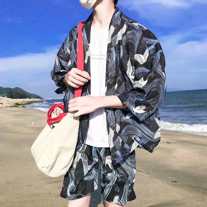 Chinese-style Men'S Wear Loose Crane Set Robes Kimono Short Sleeve Trend Printed Antique Style Teenager Two-Piece Set Men's