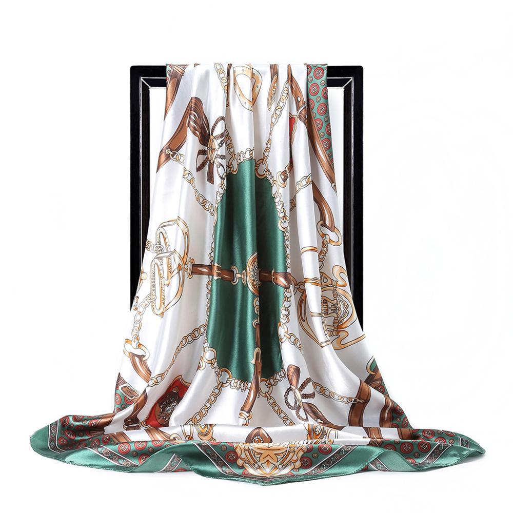 Silk Scarf For Women Satin Shawl Fashion Chain Print Green Foulard Scarfs Big Size 90*90cm Square Head Scarves Handkerchief