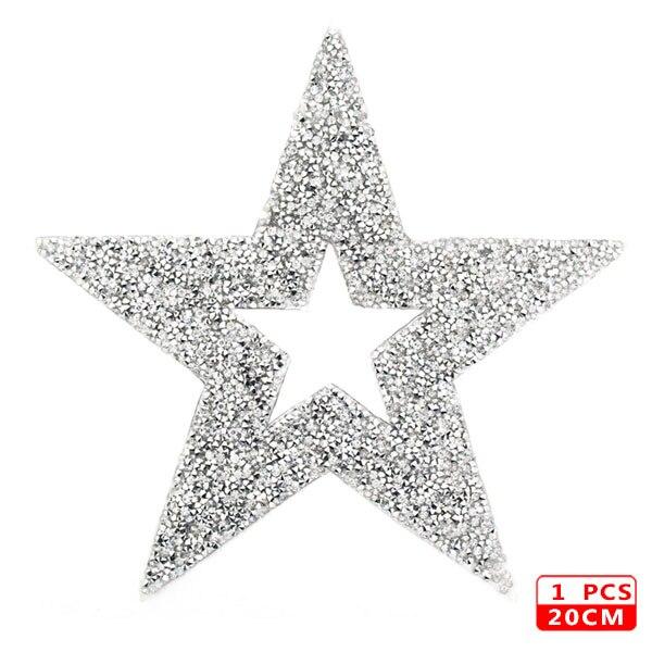 Стразы со звездами, смешанные размеры, нашивки, нашивки с вышивкой, термо-Стикеры для одежды, 5 видов цветов, блестки, нашивки для одежды, сделай сам - Цвет: 20cm Sliver 1pcs