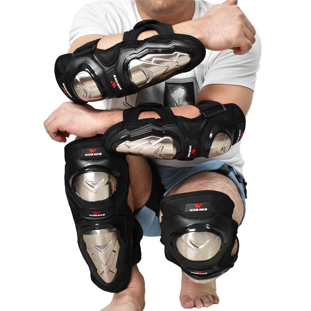 4 pçs cotovelo protetor de joelho de aço inoxidável eva shin guard joelheiras da motocicleta moto motocross mtb bicicleta downhill joelho apoio