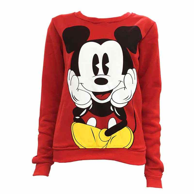 Disney Mickey Mouse Vrouwen Sweatshirts Hoodies Karakter Gedrukt Casual Trui Leuke Jumpers Top Lange Mouw O-hals Fleece Tops