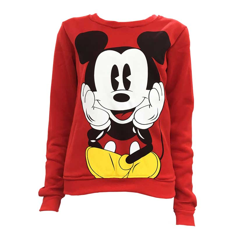Disney Mickey Mouse Women Sweatshirts Hoodies Character Printed Casual Pullover Cute Jumpers Top Long Sleeve O-Neck Fleece Tops