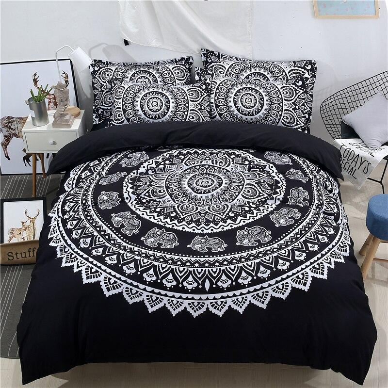India Mandala Series Bedding Set 3D Printed Duvet Quilt Cover Hippie Bohemia Pillowcase Home Textile Matching Sheet Bed Decor