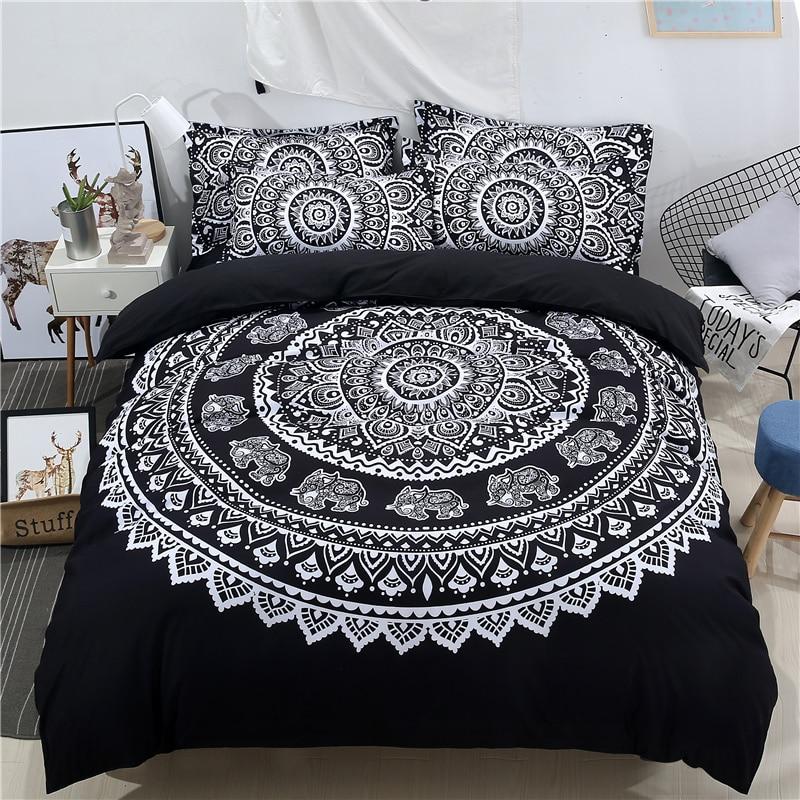 Juego de cama con Mandala de la serie India, edredón estampado en 3D, funda de almohada Hippie Bohemia, sábana a juego para decoración de cama Cosmos Flores, vallas, calcomanías de basebboard, pegatinas decorativas para el hogar, adhesivos de paredes 3D, mural de arte para habitación diy 7210