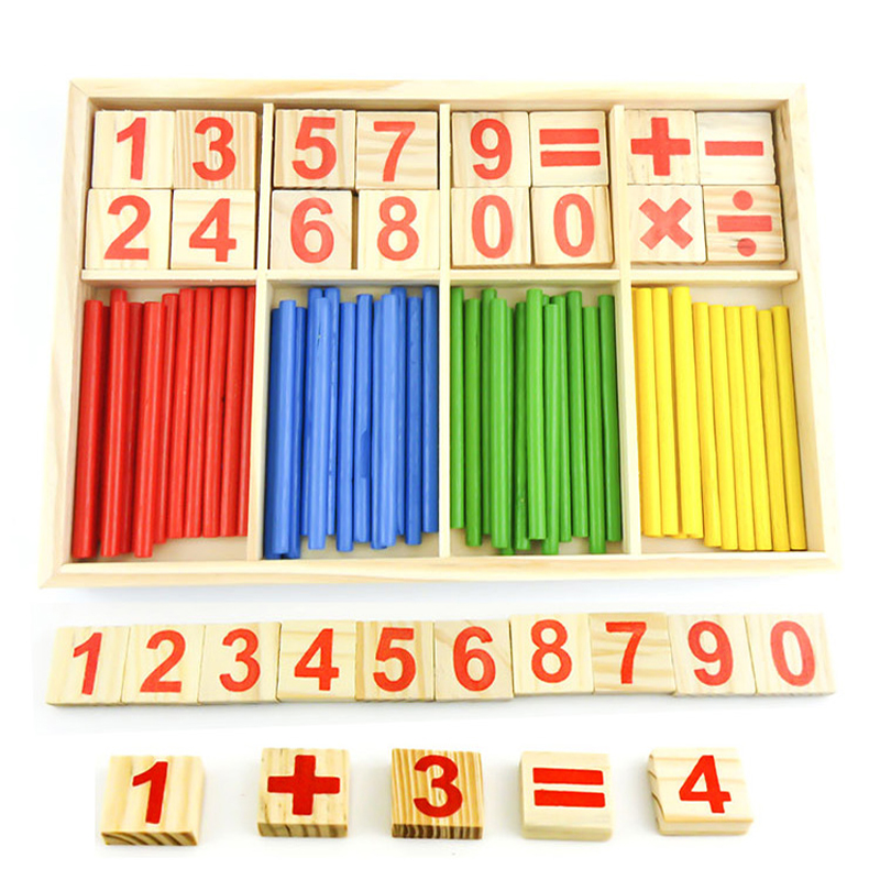 Educational Counting Sticks Toys Wooden Math Mathematical Toys For Children Teaching Aids Gift Wooden Box