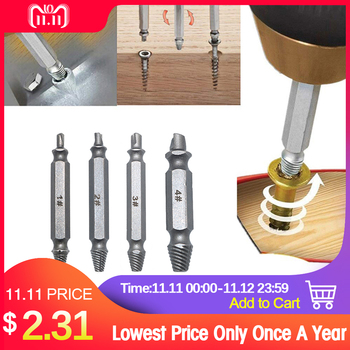4pcs Damaged Screw Extractor Drill Bits Guide Set Broken Speed Out Easy out Bolt Stud Stripped Screw Remover Tool 5pcs screw extractor drill bits guide set broken damaged screw remover double ended stripped screw extractor set h s s 4341