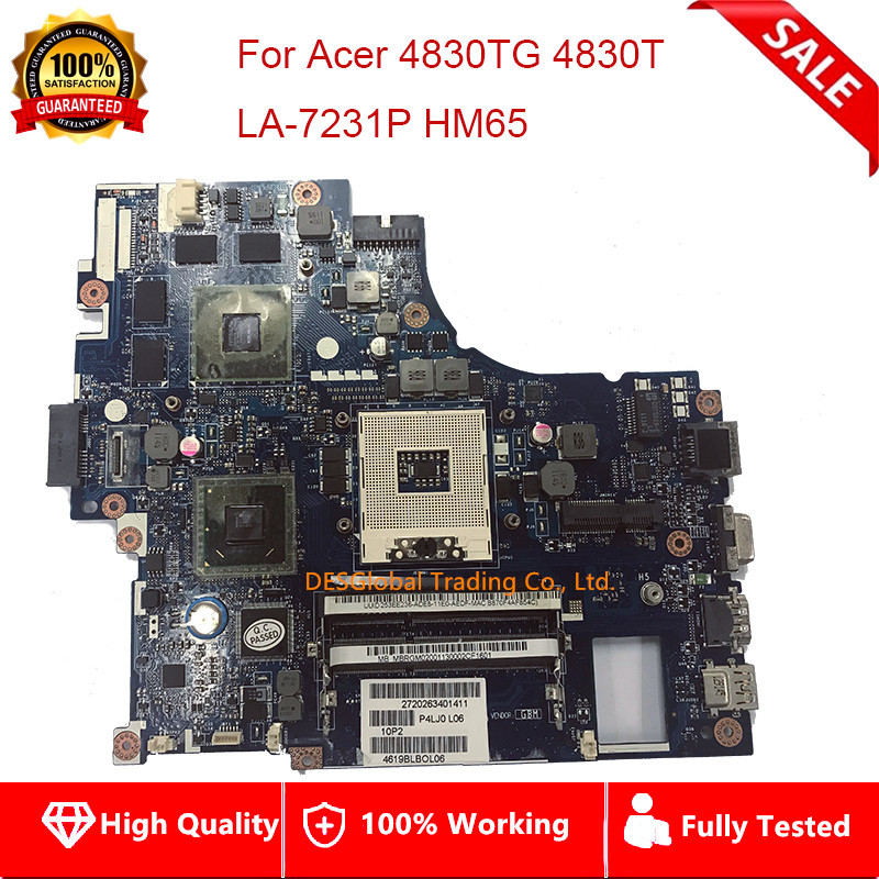 MBRGM02001 For <font><b>Acer</b></font> Aspire <font><b>4830TG</b></font> 4830T Laptop Motherboard P4LJ0 LA-7231P HM65 DDR3 Mainboard Fully Tested image