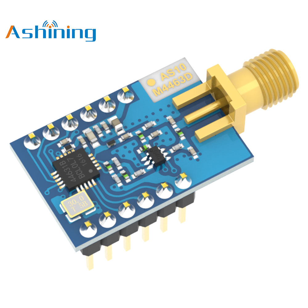 SI4463 SPI 433MHz 100mW RF Communication Receiver AS10-M4463D-SMA Wireless Module Long Distance