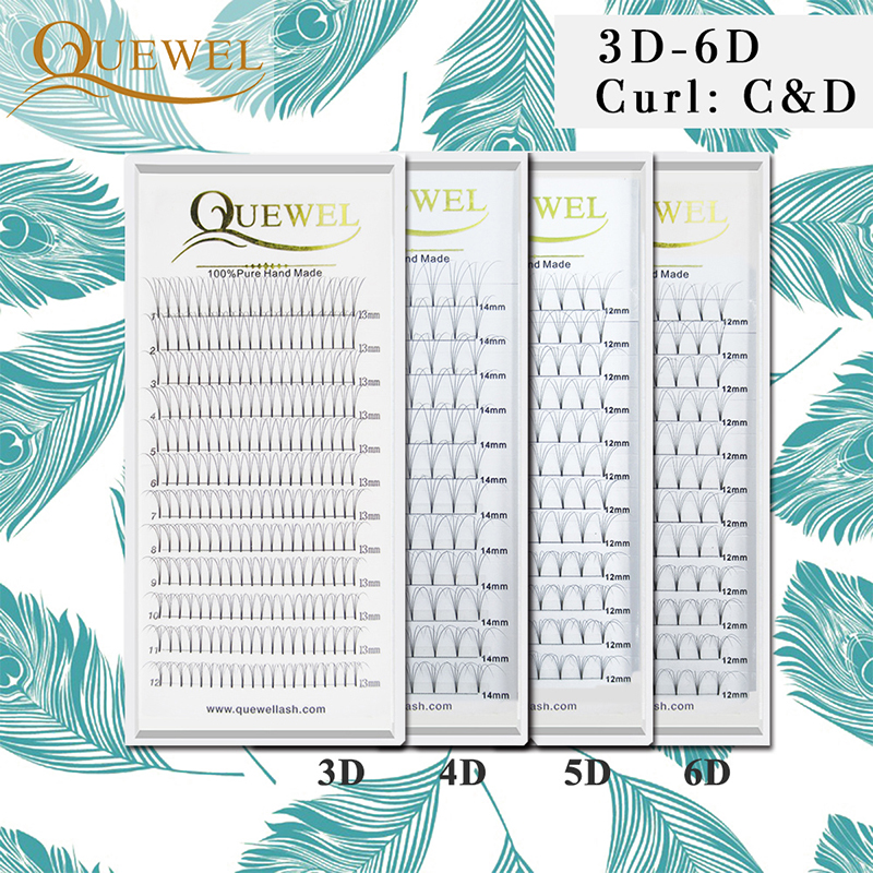 Russian Volume Eyelashes Extension Short Stem Pre Made Fans Lash Hot Selling Eyelash Individual Extensions Quewel Hand Made