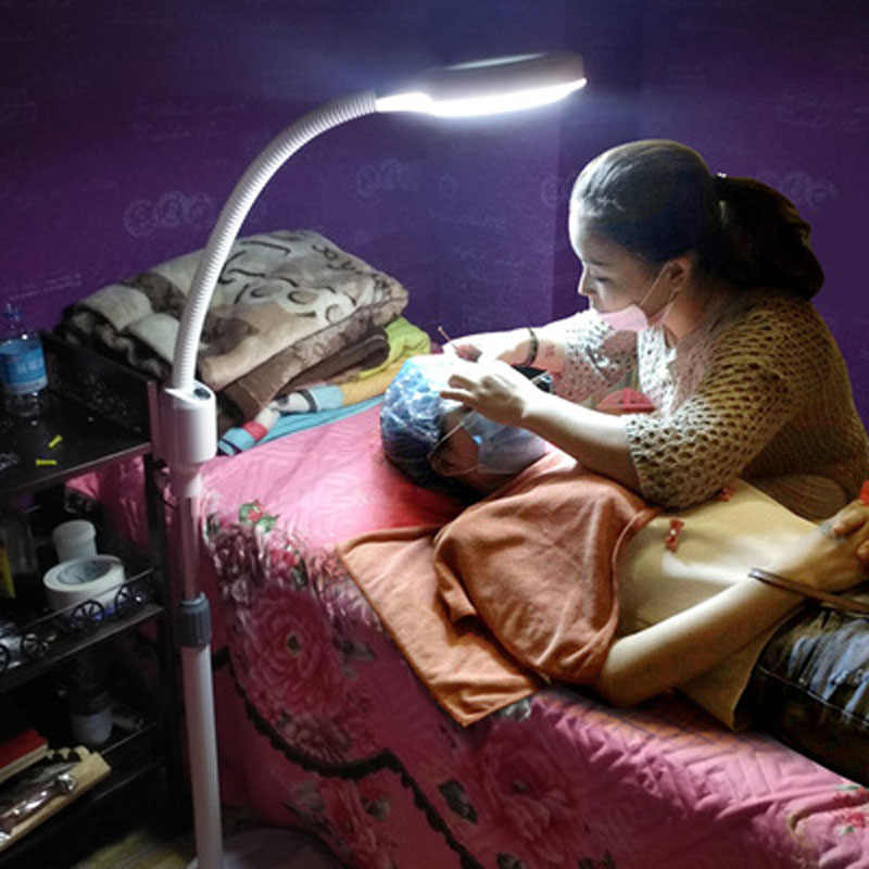 Lámpara LED para maquillaje, maquillaje, espejo, tatuaje, sin sombra, luz fría, regulable, continua, para uñas, belleza, pestañas, lámpara de lupa 8X