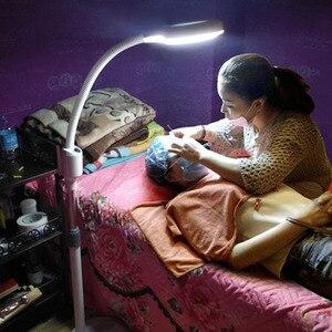 Image 1 - LED יופי מסרק איפור מראה קעקוע מנורת אין צל קר אור stepless dimmable נייל יופי ריס 8X זכוכית מגדלת מנורה