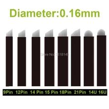 200pcs Black Lamina Tebori for Permanent Makeup Microblading Needles 7 9 12 14 16 18 21Flex 12/14/18/16 U for Tattoo Eyebrow Pen цена