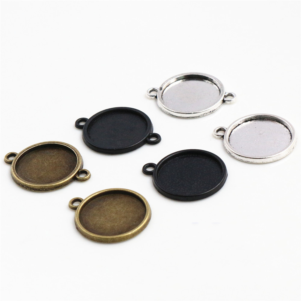 14mm 16mm 18mm Inner Size Antique Bronze Silver Plated Black Bronze 6 Simple Style Cabochon Base Cameo Setting Charms Pendant