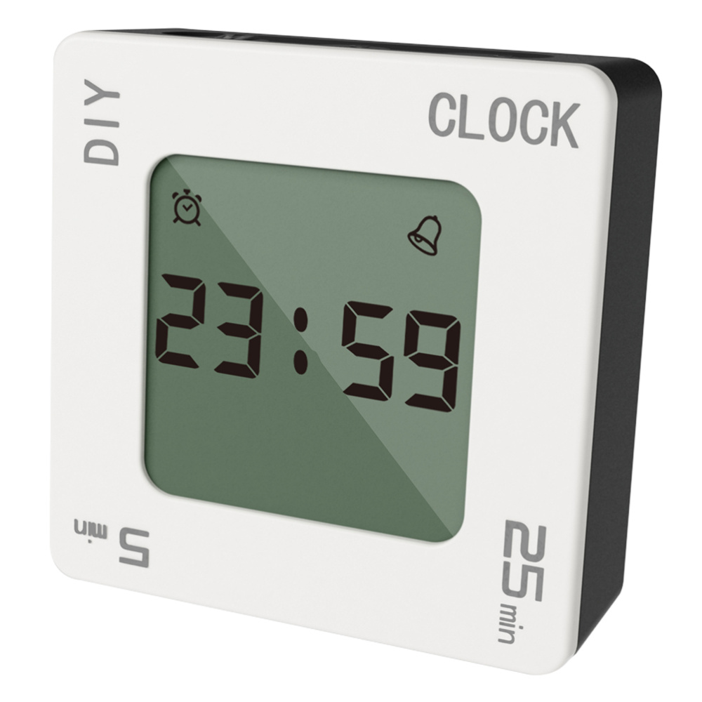 Creative Time Management Portable Timer Mini Time Reminder Useful Vibrating Timer Square Alarm Clock for Home Kitchen Office Sch