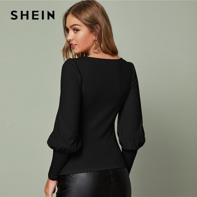 Solid Leg-of-mutton Sleeve Top Slim Fitted Tee Autumn Scoop Neck