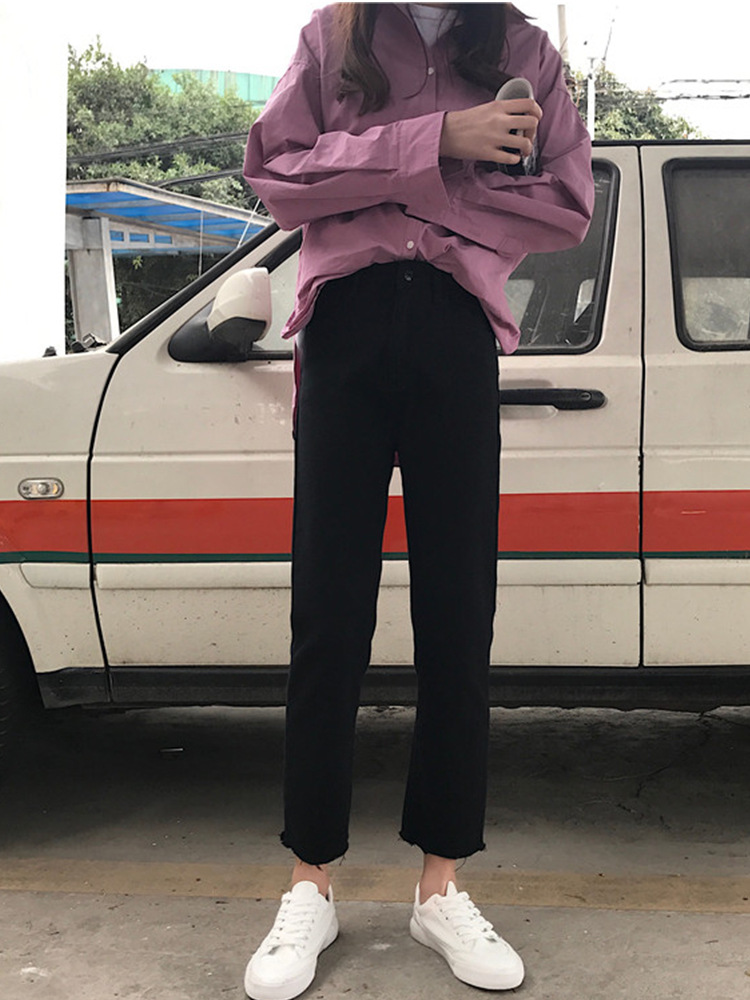 Spring And Autumn 2019 New Style Korean-style Slimming High-waisted Online Celebrity Style Jeans Student Loose Straight Capri Pa