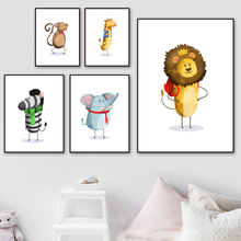 Panda Monkey Giraffe Zebra Cartoon Animals Wall Art Canvas Painting Print Nordic Posters And Prints Pictures For Kids Room