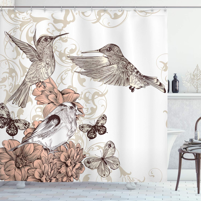 hummingbird shower curtain vintage style artwork with birds butterflies on blossoms ornamental background bathroom decor set