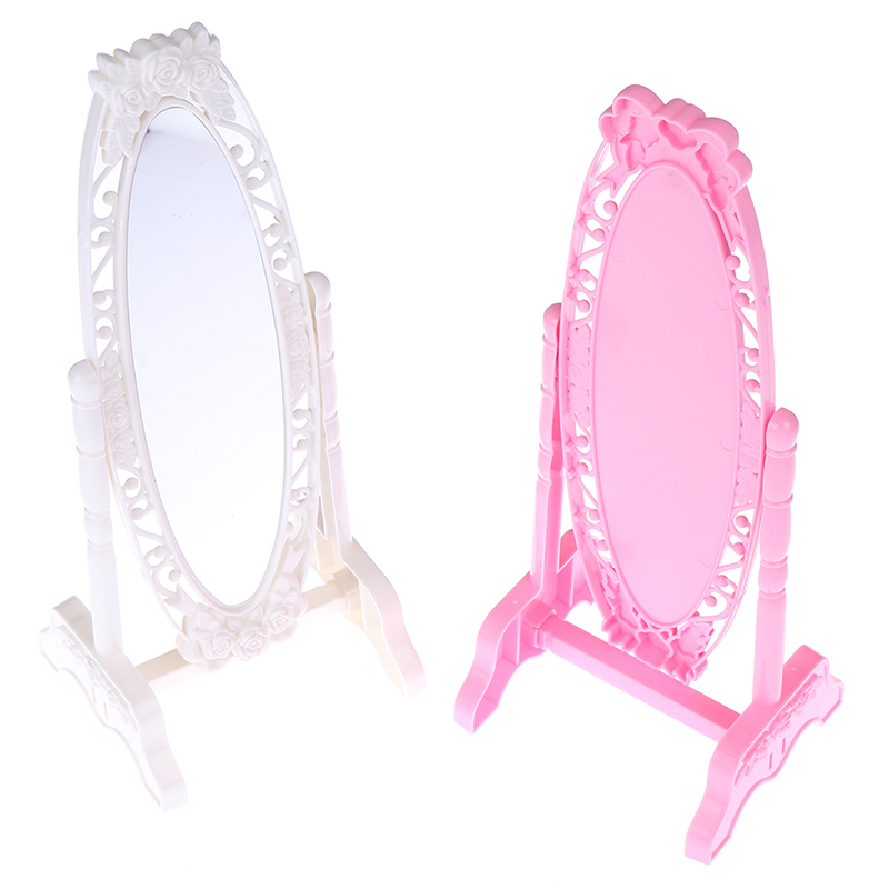 Hot 1Pc Doll Make Up Mirror Rose Fashion Doll Mirror Mini Play Rotatable Party Furniture For Doll DIY Accessories