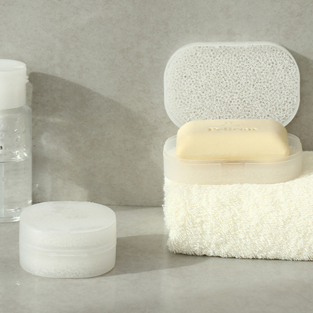 2 Sizes Portable Soap Box Sponge Soap Storage Easy To Absorb Water Bathroom Supplies Travel Supplies Soap Box