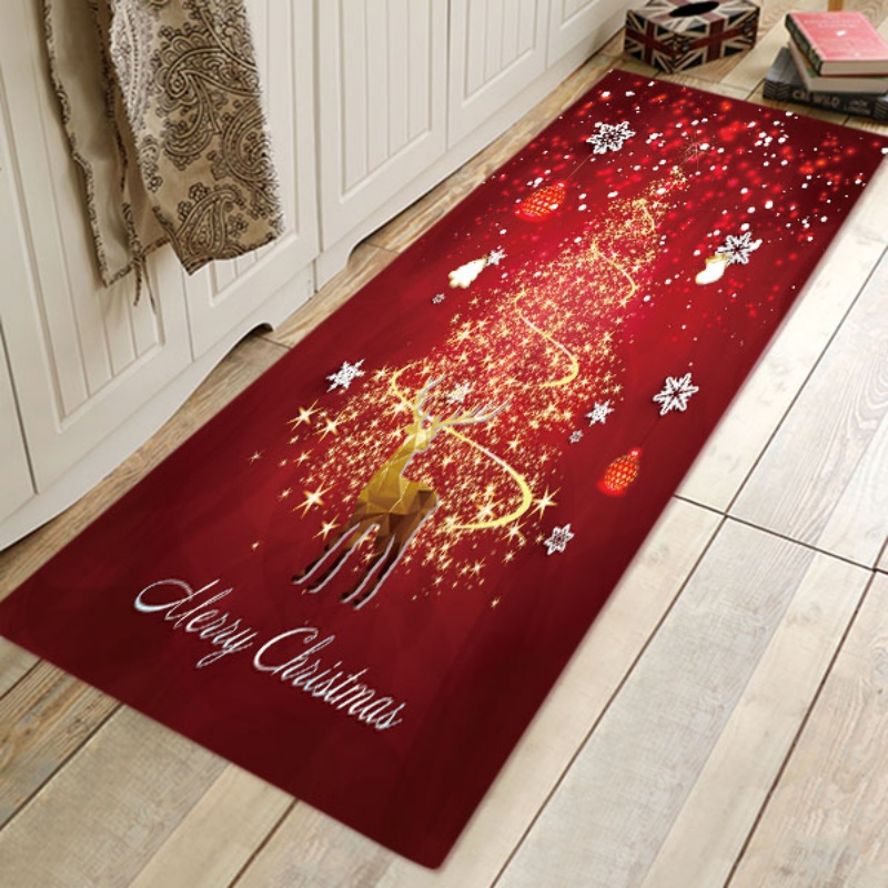 Cartoon Style Christmas Holiday Print Coral Fleece Anti-Skid Bath Mats Area Rugs Doormats For Kitchen Living Room Bedroom