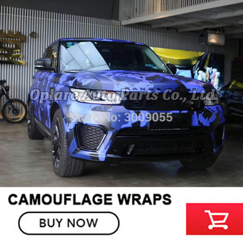 Classic blue Camouflage Vinyl Film Wrap Foil With Air Bubble Free Adhesive Motorcycle Automobiles Car Sticker Various sizes