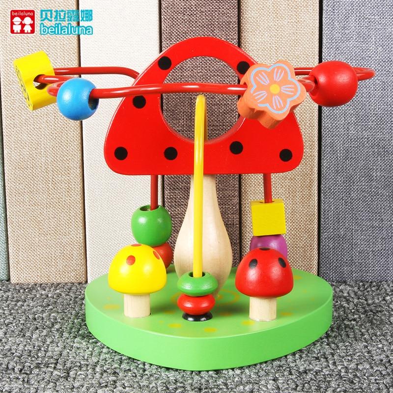 Wood Beaded Bracelet Bead-stringing Toy Flower Mushroom Children Fine Motion Training Hand-Eye Coordination Thinking Early Child