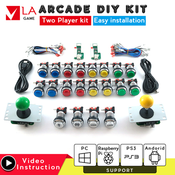 arcade cabinet  diy kit padora for 2 player sanwa joystick arcade zero delay encoder kit led arcade button mame game console one player arcade game diy parts kit usb encoder pc joystick retro game diy kit for raspberry pi 3 retropie