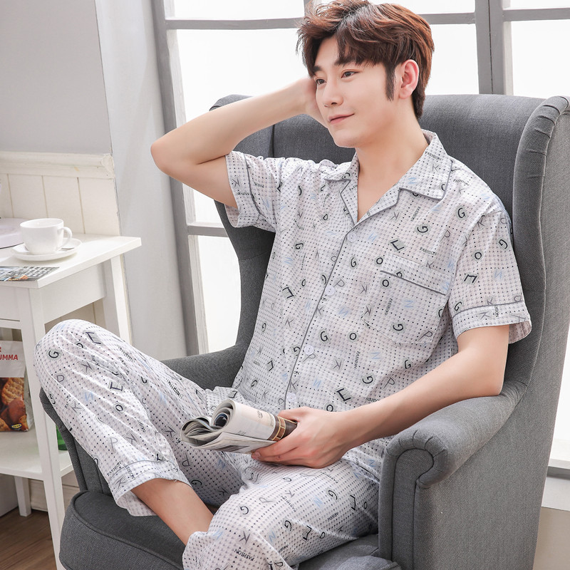 Summer Men Cotton Pajamas Sets With Pants Thin Sleepwear Pyjama Short Sleeve Casual Pijama Hombre Nightwear XXL Homewear